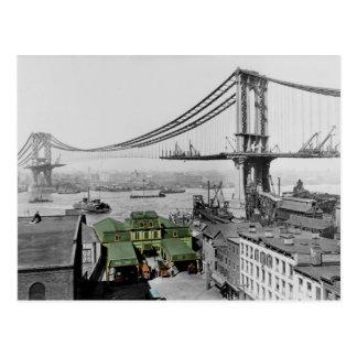 Manhattan överbryggar vintagefotovykortet vykort