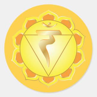 manipura- eller solarplexuschakraklistermärke runt klistermärke