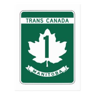 Manitoba denKanada huvudvägen undertecknar Vykort