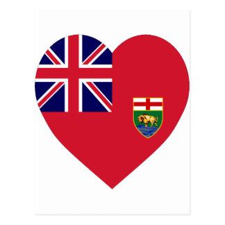 Manitoba flaggahjärta vykort
