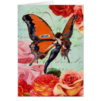 Människa-Djur hybrid- fjärilskvinna med ro Hälsningskort