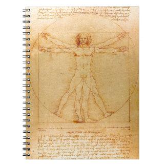 Människaanatomi, Vitruvian man av Leonardo Da Spiralbundna Anteckningsböcker