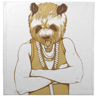 människabjörn med tungan tygservett