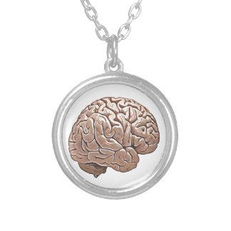 människahjärna silverpläterat halsband