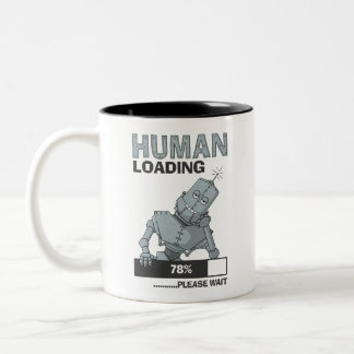 Människan som laddar, behar den roliga kaffemuggen Två-Tonad mugg