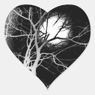 Månsken Hjärtformat Klistermärke