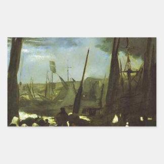 Månsken på den Boulogne hamnen av Edouard Manet Rektangulärt Klistermärke