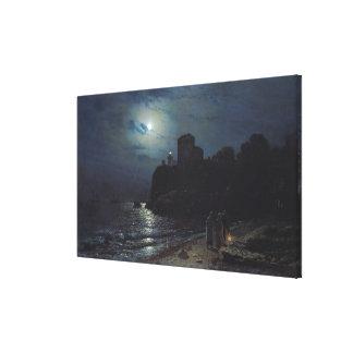 Månsken på kanten av en sjö, 1870 canvastryck