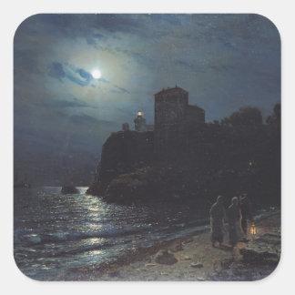 Månsken på kanten av en sjö, 1870 fyrkantigt klistermärke