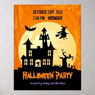 Månsken spökat hus i kyrkogården - Halloween Poster