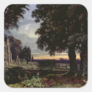 Månsken tankar i en Churchyard Fyrkantigt Klistermärke