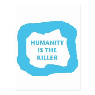 Mänsklighet är mördare, blått .png vykort