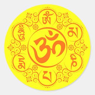 Mantra för mummel för buddistOm Mani Padme Runt Klistermärke