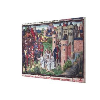 Manuskript av Jean Vauquelin Canvastryck