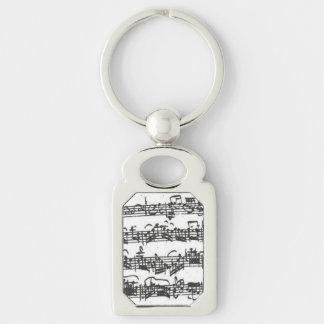 Manuskript för musik för Bach violoncellfölje Rektangulärt Silverfärgad Nyckelring