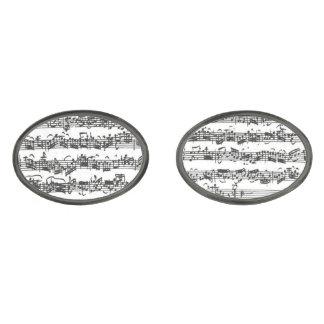 Manuskript för musik för Bach violoncellfölje Stålgrå Pläterade Manschetterknappar