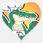 Mardi Gras Cajun krokodil Hjärtformade Klistermärken