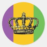 Mardi Gras flaggakrona Runda Klistermärken