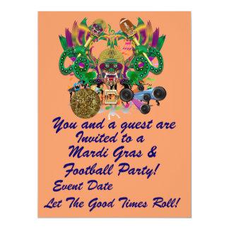 """Mardi Gras & fotboll 6,5"""" x 8,75"""" beskådar antyder 16,5 X 22,2 Cm Inbjudningskort"""