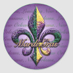Mardi Gras pryder med pärlor Fleur de lis 2 Rund Klistermärke