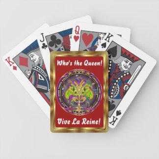 Mardi Gras som drottningen beskådar, noterar behar Spelkort