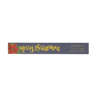 Marin för blommigt för god juljulstjärnahelgdag etikettband