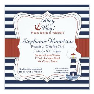 Marin görad randig fyrbaby showerinbjudan fyrkantigt 13,3 cm inbjudningskort