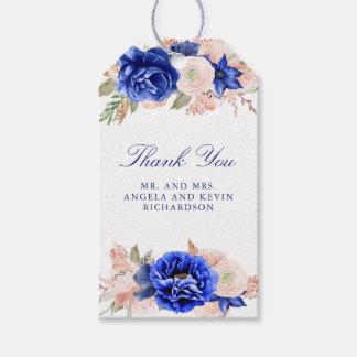 Marin och blom- vattenfärgbröllop för rosor presentetikett