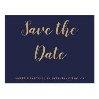 Marin- och guldbröllop spara datum vykort