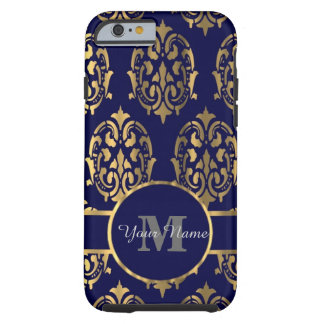 Marin- och gulddamastmonogram tough iPhone 6 fodral