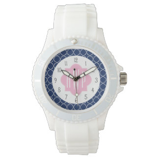 Marin Quatrefoil & rosa Monogram Armbandsur
