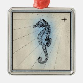 Marin- tryck för svart Seahorse med blåttramen Julgransprydnad Metall
