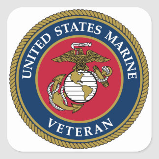 Marin- veteranblått för US Fyrkantigt Klistermärke