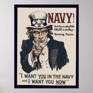 Marin WW1 som för vintageUncle Sam rekryterar Poster