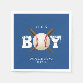 Marinblå baby shower för baseballtemapojke servett