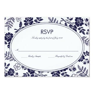Marinblå blom- OSA kort 8,9 X 12,7 Cm Inbjudningskort
