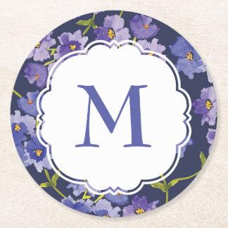 Marinblå blom- Persoanlised för akvarell Underlägg Papper Rund
