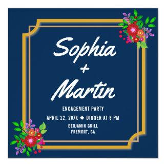 Marinblå blom- ramförlovningsfestinbjudan fyrkantigt 13,3 cm inbjudningskort
