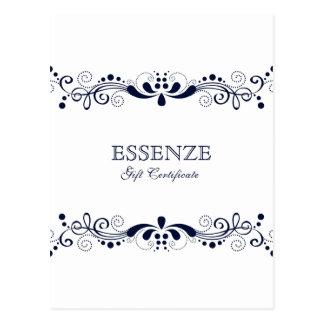 Marinblå & blom- snörepresentkort för vit vykort
