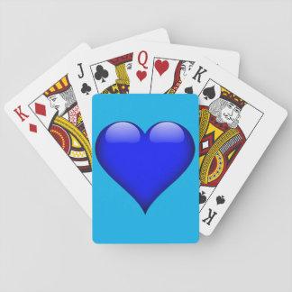 Marinblå Glass hjärtaanpassade Spel Kort