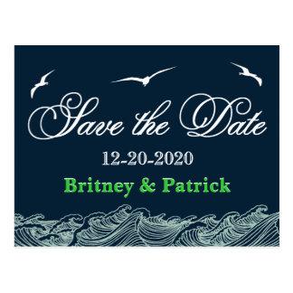 Marinblå & grön nautisk bröllop spara datum vykort