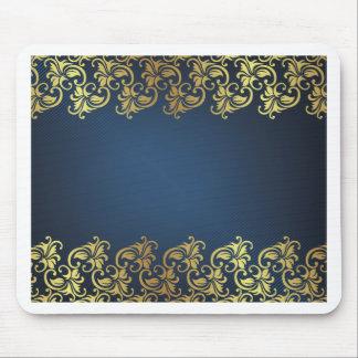 marinblå guld- blommigt, mönster, chic, elegant, mus mattor
