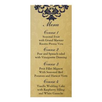"""marinblå"" guld- bröllopmeny rack kort designs"