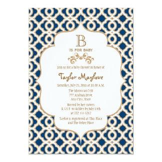 Marinblå guld- marockansk genderneutraltbaby 12,7 x 17,8 cm inbjudningskort