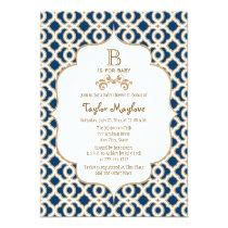 Marinblå guld- marockansk genderneutraltbaby anpassade inbjudningskort