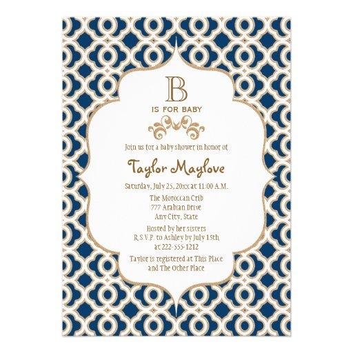 Marinblå guld- marockansk genderneutraltbaby showe anpassade inbjudningskort