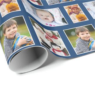 Marinblå helgdag för foto som slår in papper presentpapper