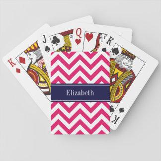 Marinblå känd Monogram för hallonLg-sparre Casinokort