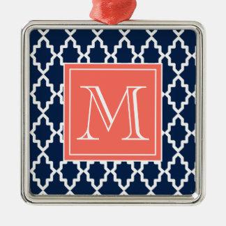 Marinblå marockansk korallMonogram Julgransprydnad Metall