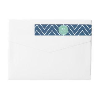 Marinblå Monogram för grönt för Mint för Etikettband